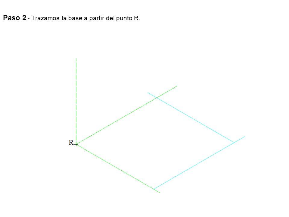 Paso 2.- Trazamos la base a partir del punto R.