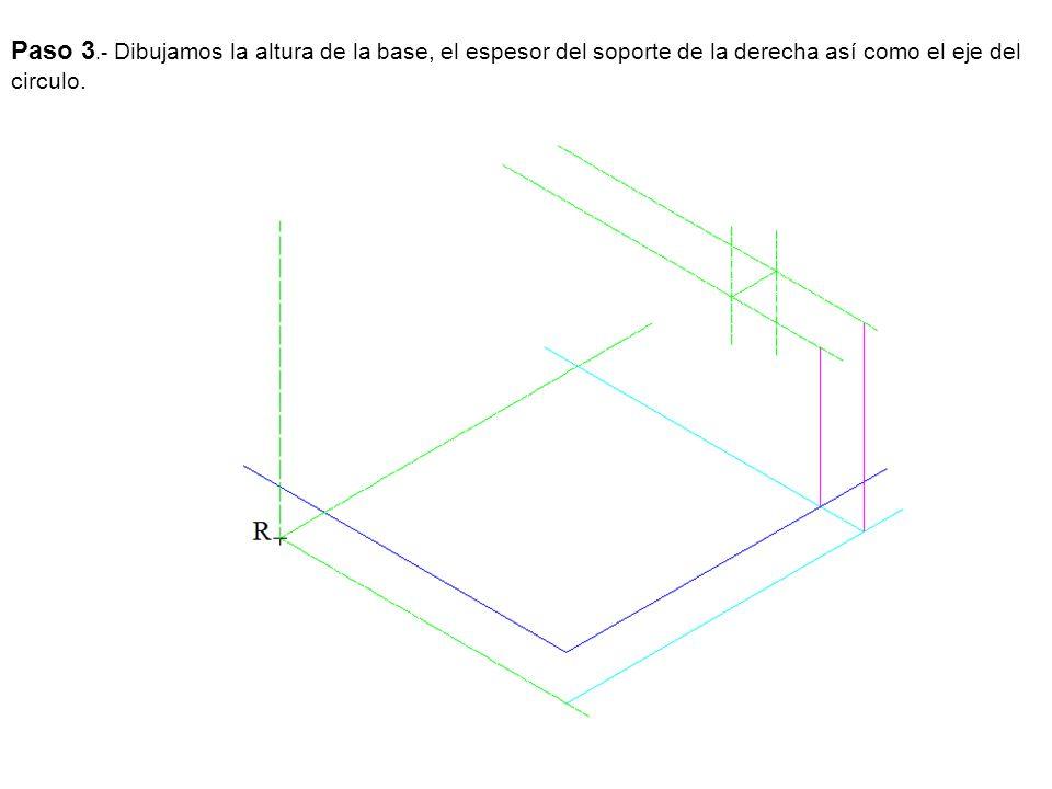 Paso 3.- Dibujamos la altura de la base, el espesor del soporte de la derecha así como el eje del circulo.