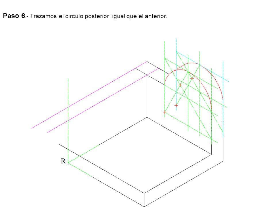 Paso 6.- Trazamos el circulo posterior igual que el anterior.