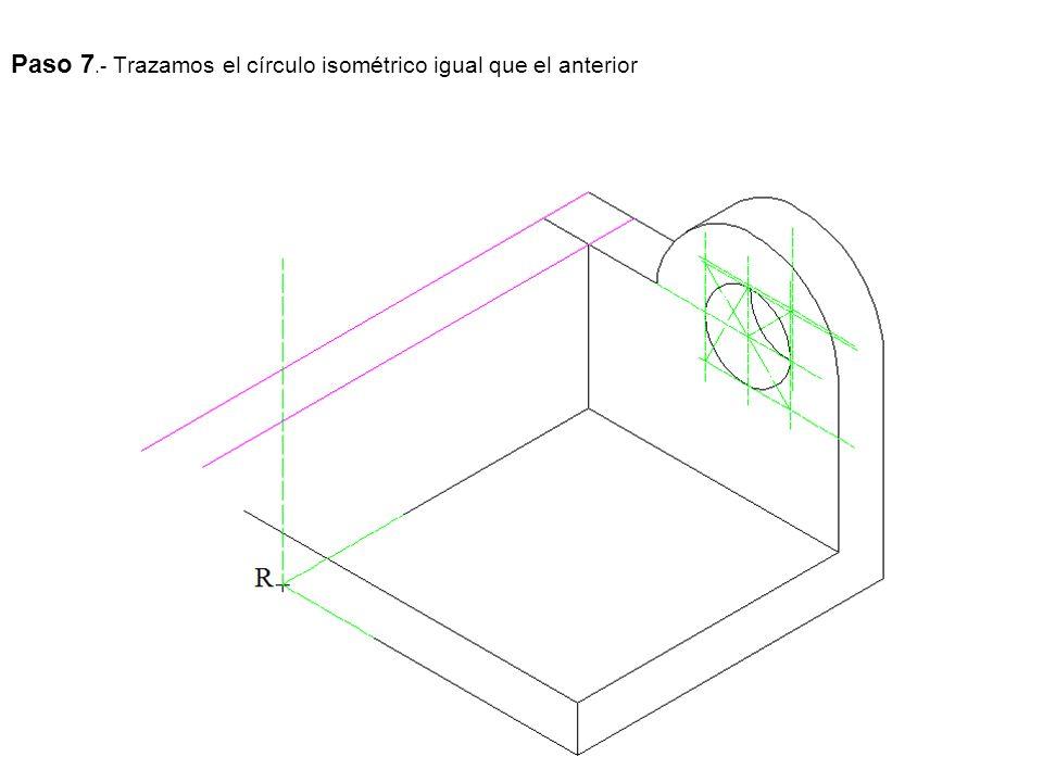 Paso 7.- Trazamos el círculo isométrico igual que el anterior