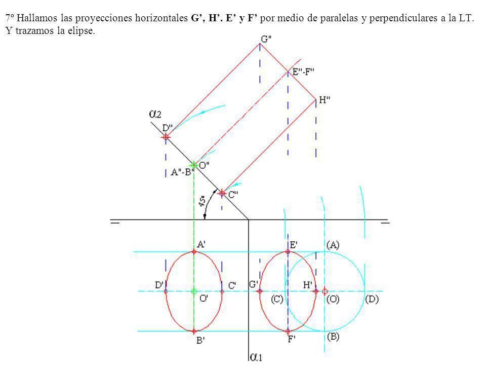 7º Hallamos las proyecciones horizontales G, H. E y F por medio de paralelas y perpendiculares a la LT. Y trazamos la elipse.