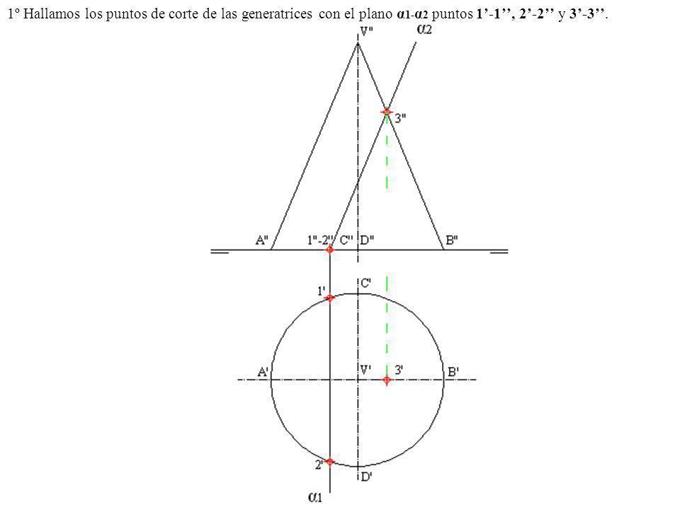 1º Hallamos los puntos de corte de las generatrices con el plano α 1- α 2 puntos 1-1, 2-2 y 3-3.