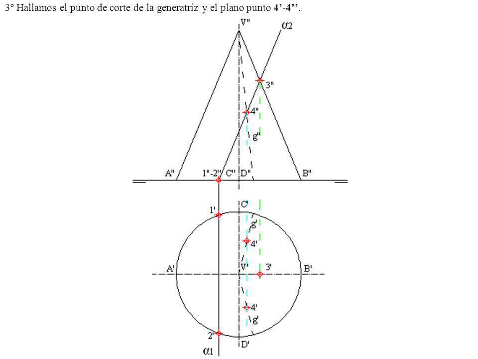 3º Hallamos el punto de corte de la generatriz y el plano punto 4-4.