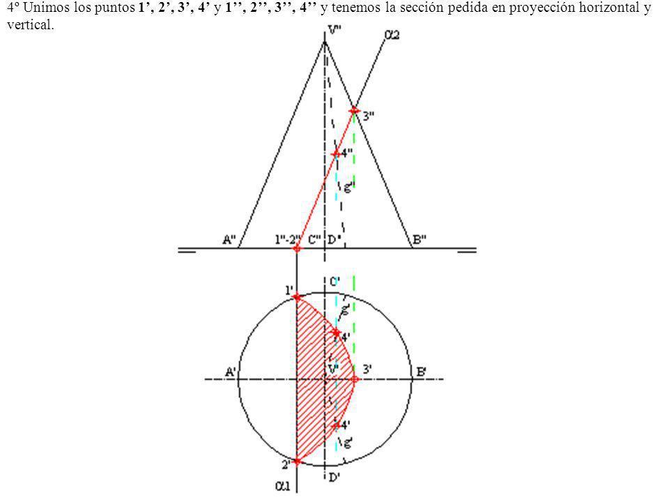 4º Unimos los puntos 1, 2, 3, 4 y 1, 2, 3, 4 y tenemos la sección pedida en proyección horizontal y vertical.