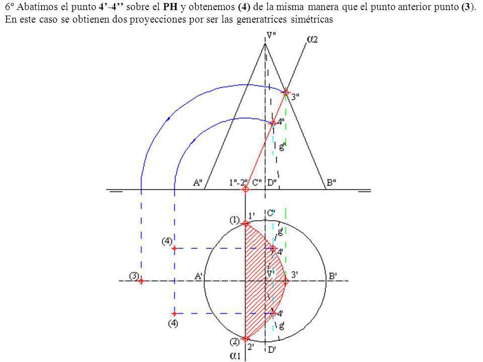 6º Abatimos el punto 4-4 sobre el PH y obtenemos (4) de la misma manera que el punto anterior punto (3). En este caso se obtienen dos proyecciones por