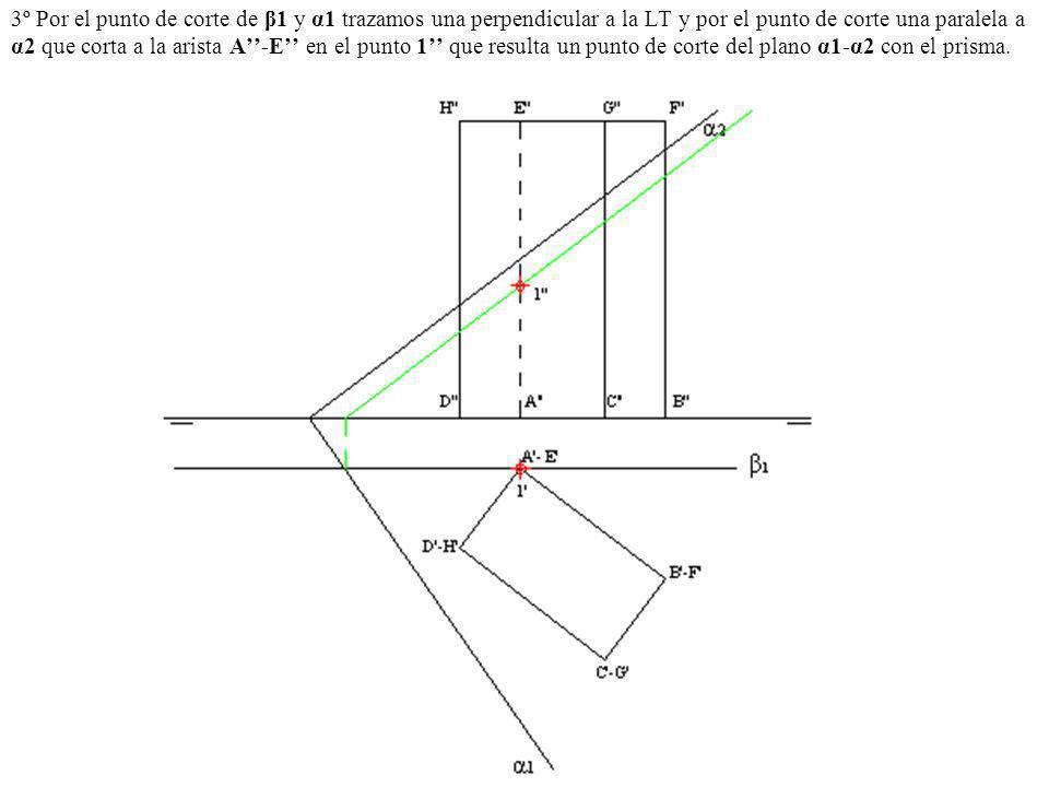 3º Por el punto de corte de β1 y α1 trazamos una perpendicular a la LT y por el punto de corte una paralela a α2 que corta a la arista A-E en el punto