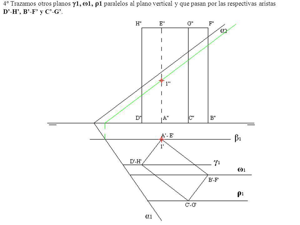4º Trazamos otros planos 1, ω 1, ρ 1 paralelos al plano vertical y que pasan por las respectivas aristas D-H, B-F y C-G.