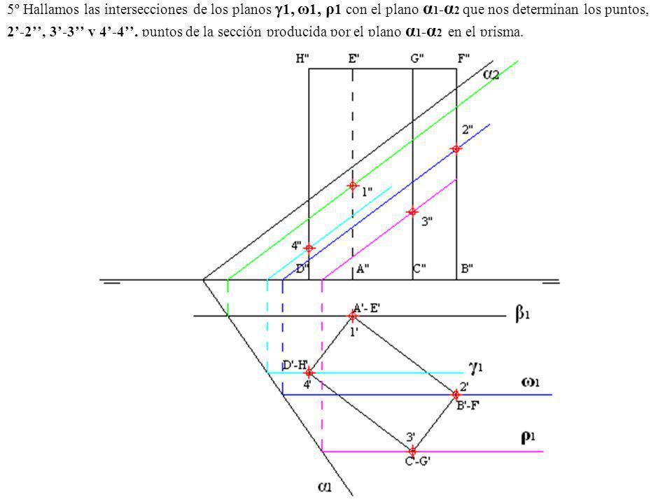 5º Hallamos las intersecciones de los planos 1, ω 1, ρ 1 con el plano α 1 - α 2 que nos determinan los puntos, 2-2, 3-3 y 4-4, puntos de la sección pr