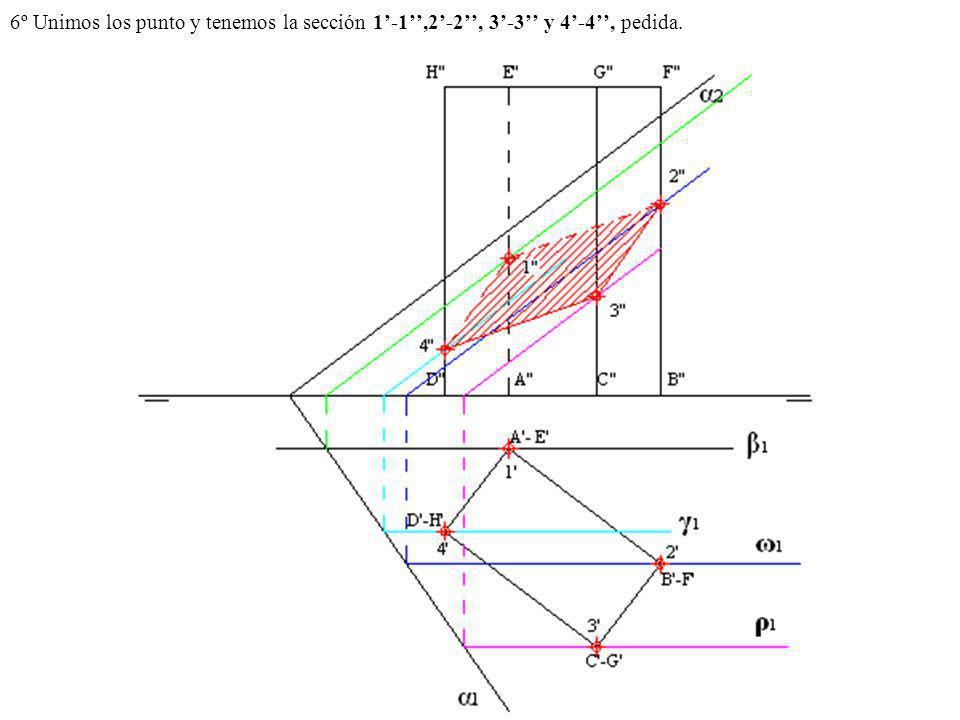 6º Unimos los punto y tenemos la sección 1-1,2-2, 3-3 y 4-4, pedida.