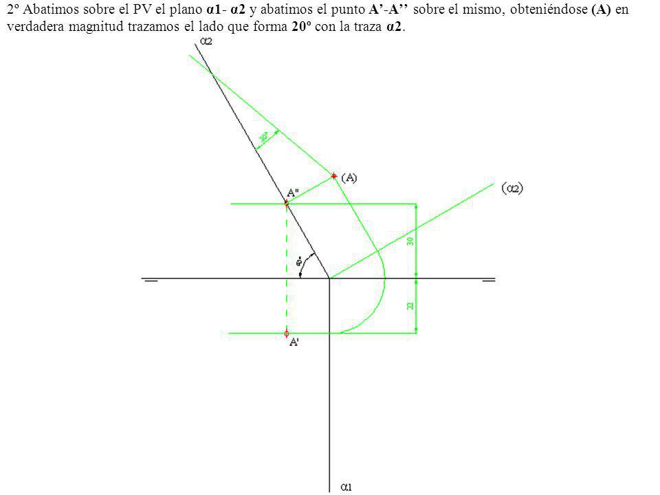 2º Abatimos sobre el PV el plano α1- α2 y abatimos el punto A-A sobre el mismo, obteniéndose (A) en verdadera magnitud trazamos el lado que forma 20º