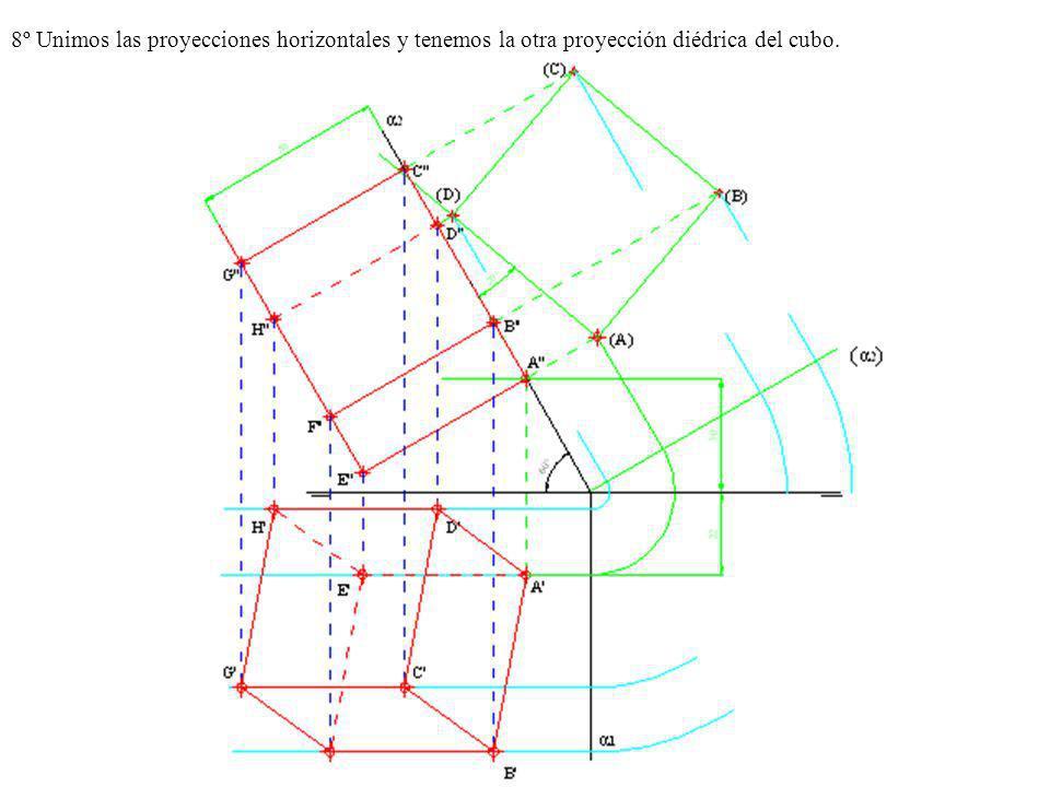 8º Unimos las proyecciones horizontales y tenemos la otra proyección diédrica del cubo.