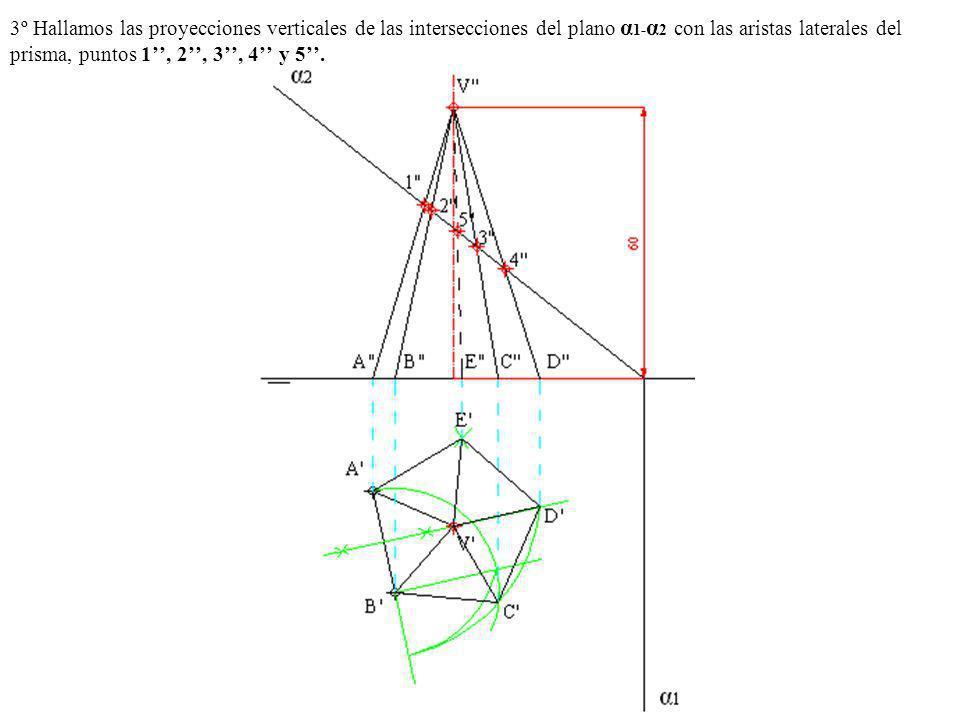 3º Hallamos las proyecciones verticales de las intersecciones del plano α 1- α 2 con las aristas laterales del prisma, puntos 1, 2, 3, 4 y 5.
