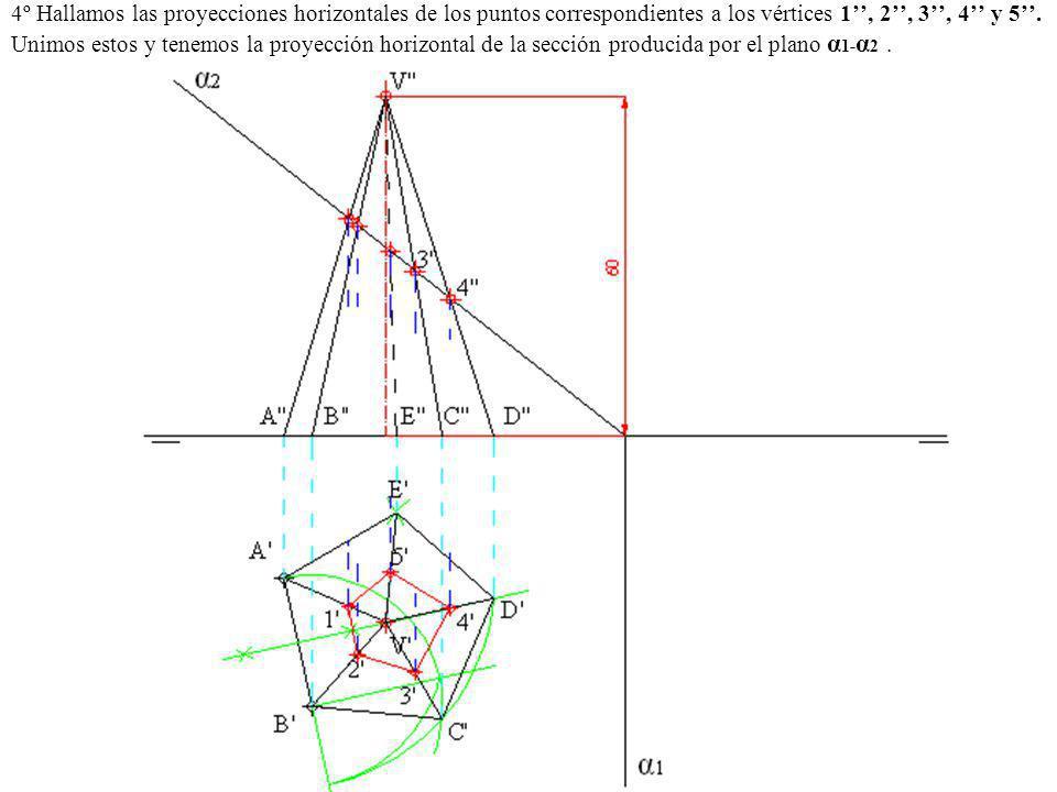 4º Hallamos las proyecciones horizontales de los puntos correspondientes a los vértices 1, 2, 3, 4 y 5. Unimos estos y tenemos la proyección horizonta