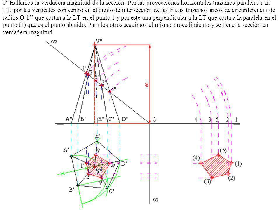 5º Hallamos la verdadera magnitud de la sección. Por las proyecciones horizontales trazamos paralelas a la LT, por las verticales con centro en el pun