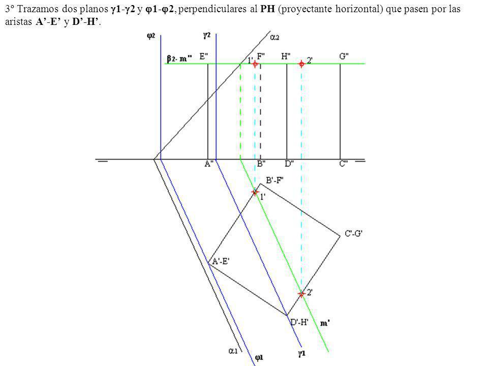 3º Trazamos dos planos 1- 2 y 1- 2, perpendiculares al PH (proyectante horizontal) que pasen por las aristas A-E y D-H.