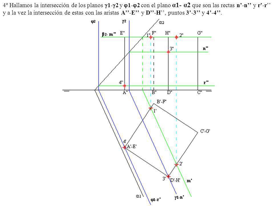 4º Hallamos la intersección de los planos 1- 2 y 1- 2 con el plano α1- α2 que son las rectas n-n y r-r y a la vez la intersección de estas con las ari
