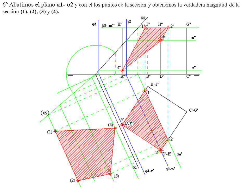 6º Abatimos el plano α1- α2 y con el los puntos de la sección y obtenemos la verdadera magnitud de la sección (1), (2), (3) y (4).