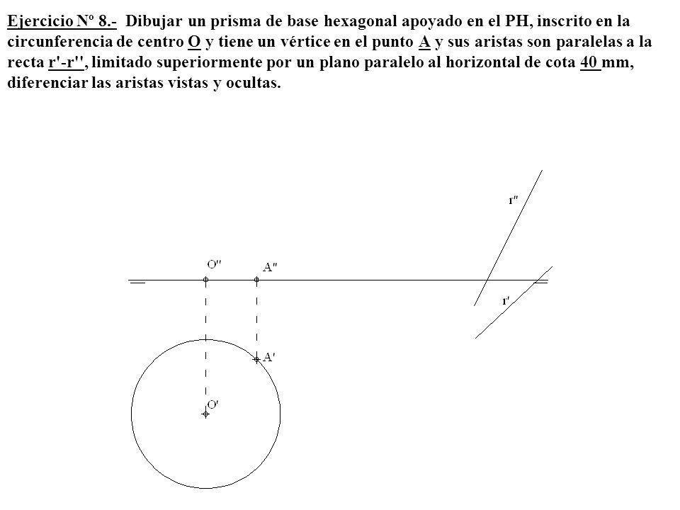 Ejercicio Nº 8.- Dibujar un prisma de base hexagonal apoyado en el PH, inscrito en la circunferencia de centro O y tiene un vértice en el punto A y su