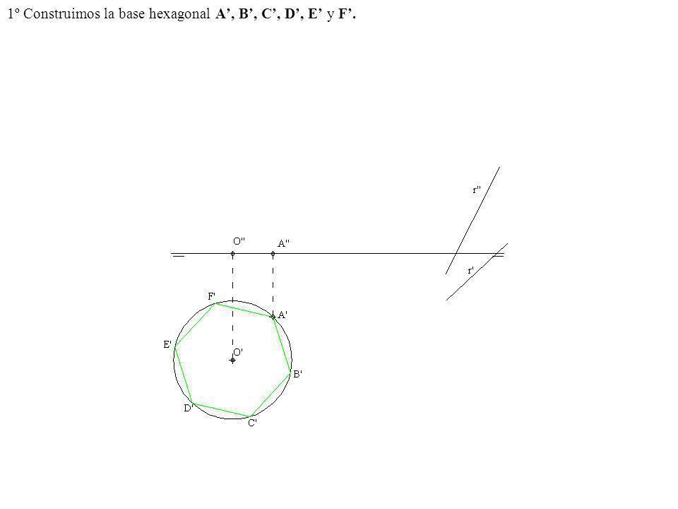 1º Construimos la base hexagonal A, B, C, D, E y F.