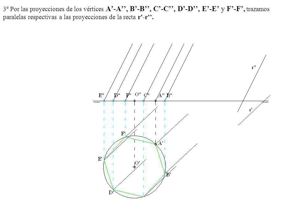 3º Por las proyecciones de los vértices A-A, B-B, C-C, D-D, E-E y F-F, trazamos paralelas respectivas a las proyecciones de la recta r-r.