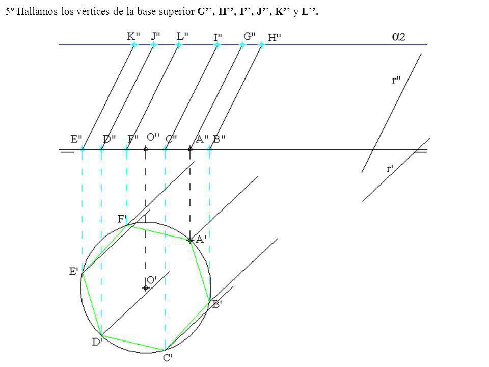5º Hallamos los vértices de la base superior G, H, I, J, K y L.