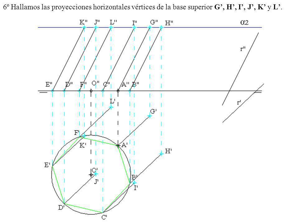 6º Hallamos las proyecciones horizontales vértices de la base superior G, H, I, J, K y L.
