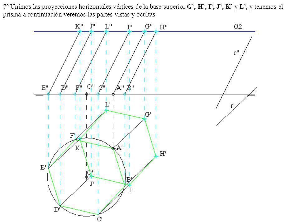7º Unimos las proyecciones horizontales vértices de la base superior G, H, I, J, K y L, y tenemos el prisma a continuación veremos las partes vistas y