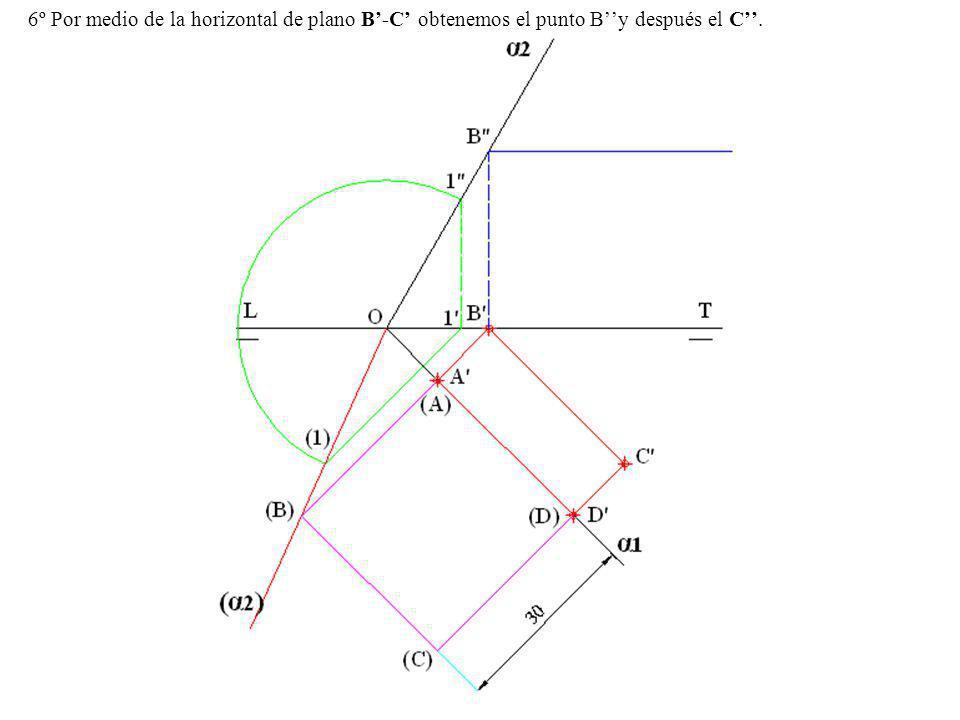 6º Por medio de la horizontal de plano B-C obtenemos el punto By después el C.