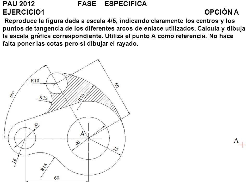 EJERCICIO 3OPCIÓN B Representa a escala 2: 3, la perspectiva isométrica de la pieza dada por sus vistas.