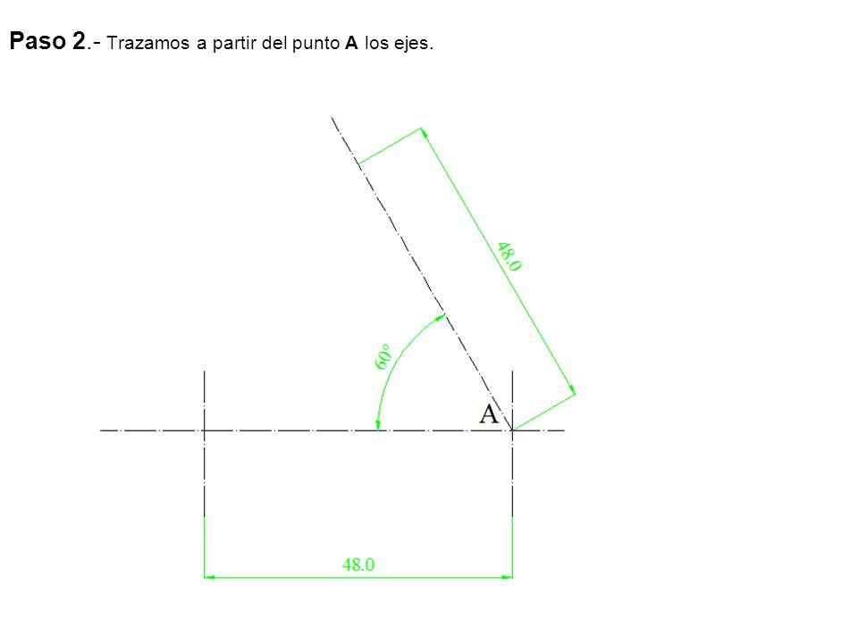 Paso 2.- Por R trazamos los ejes isométricos