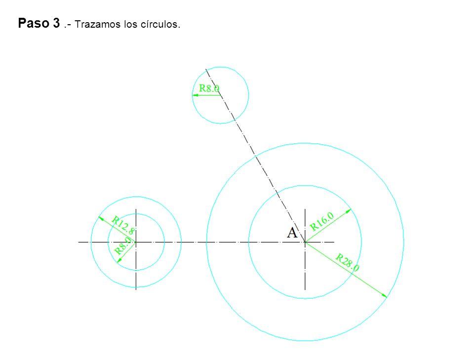 Paso 4.- Trazamos la recta tangente exterior a dos circunferencias, como vemos en la figura.