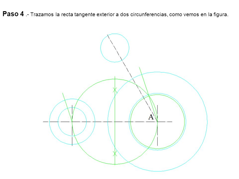 Paso 5.- Unimos los puntos de tangencia y tenemos la recta tangente.
