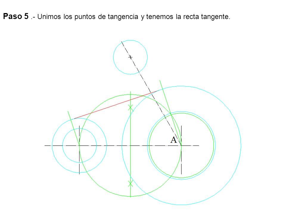 Paso 6.- Unimos las dos circunferencias por medio de un arco, para esto aumentamos el radio de las circunferencias el radio de arco de enlace y obtenemos el centro, uniendo este con los centros tenemos los puntos de tangencia.