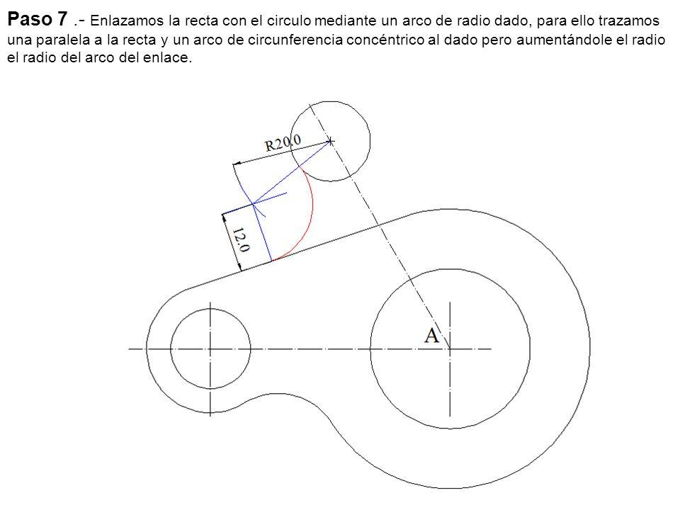 Paso 6.- Unimos las dos circunferencias por medio de un arco exterior a estas, para esto aumentamos al radio del arco exterior le restamos el de las circunferencias y hacemos centro en los centros de las respectivas circunferencias trazamos los arcos que se cortan en un punto que resulta el centro del arco del enlace solicitado, trazamos el arco.