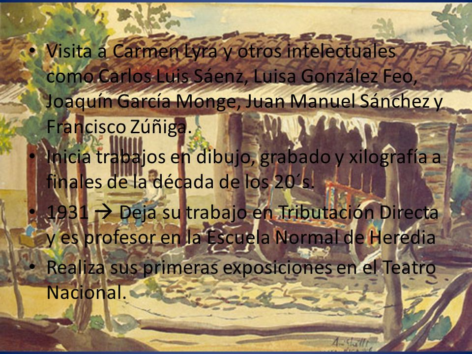 Visita a Carmen Lyra y otros intelectuales como Carlos Luis Sáenz, Luisa González Feo, Joaquín García Monge, Juan Manuel Sánchez y Francisco Zúñiga. I