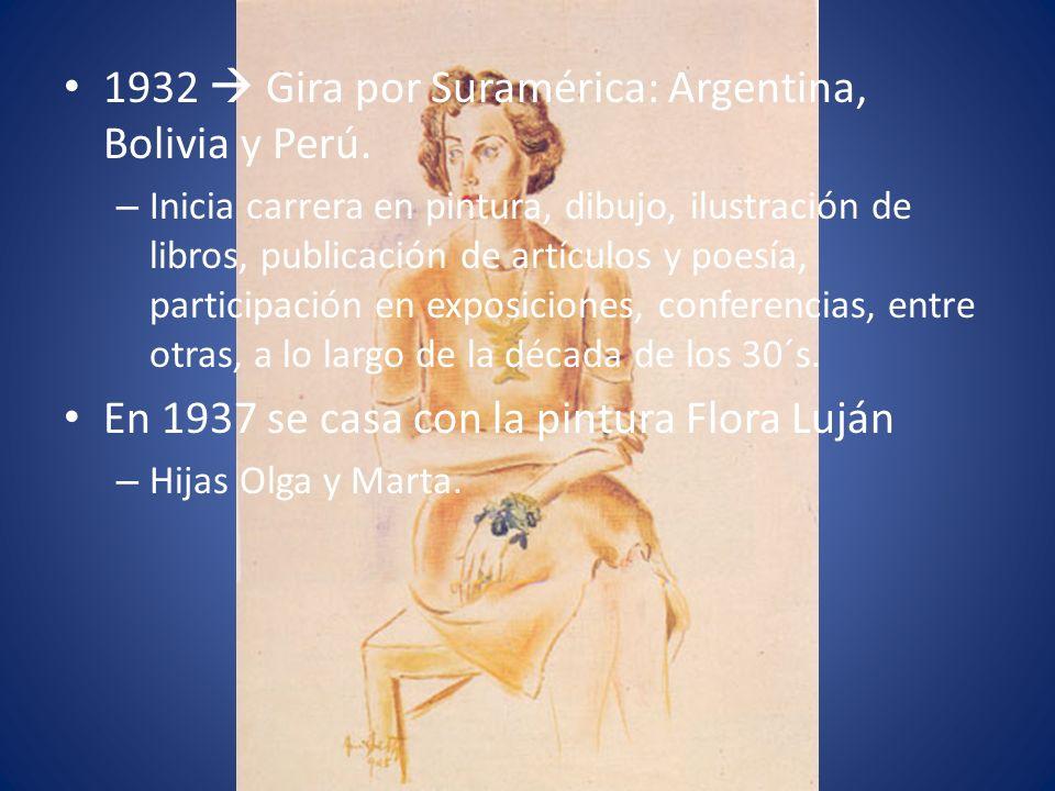 1932 Gira por Suramérica: Argentina, Bolivia y Perú. – Inicia carrera en pintura, dibujo, ilustración de libros, publicación de artículos y poesía, pa