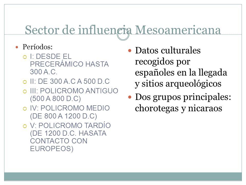 Sector de influencia Mesoamericana Períodos: I: DESDE EL PRECERÁMICO HASTA 300 A.C.