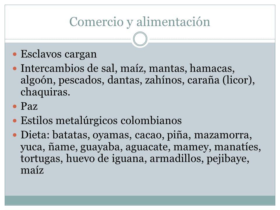 Comercio y alimentación Esclavos cargan Intercambios de sal, maíz, mantas, hamacas, algoón, pescados, dantas, zahínos, caraña (licor), chaquiras.