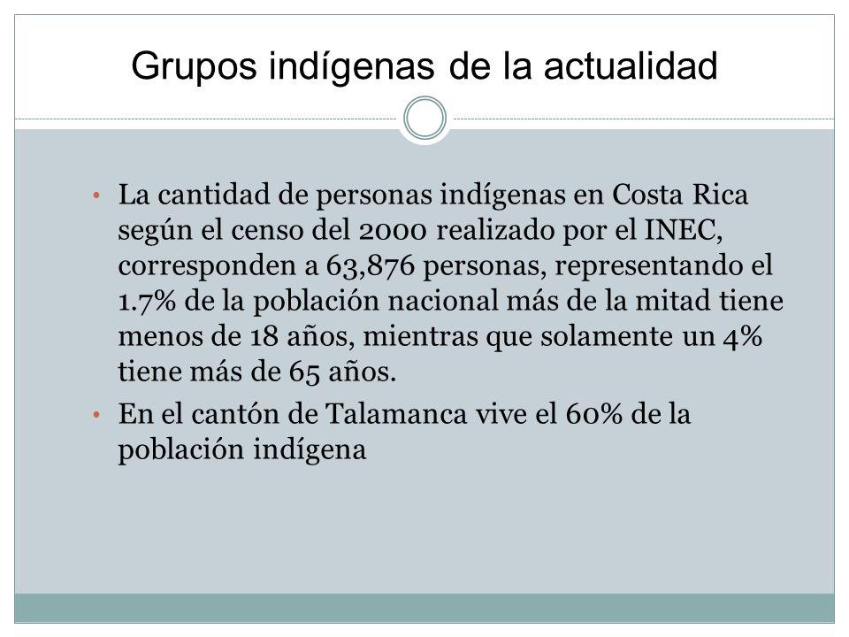 Grupos indígenas de la actualidad La cantidad de personas indígenas en Costa Rica según el censo del 2000 realizado por el INEC, corresponden a 63,876 personas, representando el 1.7% de la población nacional más de la mitad tiene menos de 18 años, mientras que solamente un 4% tiene más de 65 años.