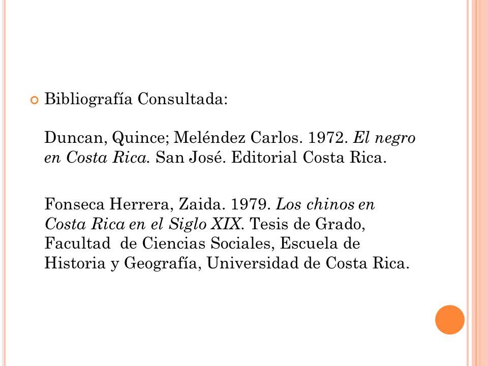 Bibliografía Consultada: Duncan, Quince; Meléndez Carlos.