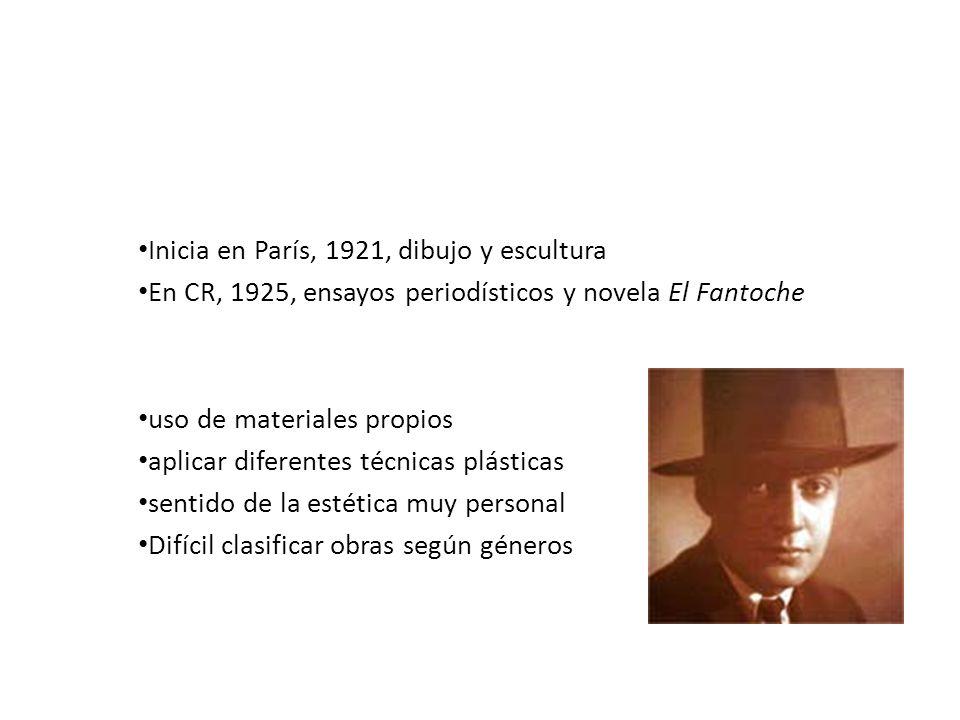 Max Jiménez Vida artística: Inicia en París, 1921, dibujo y escultura En CR, 1925, ensayos periodísticos y novela El Fantoche Destaca por: uso de mate