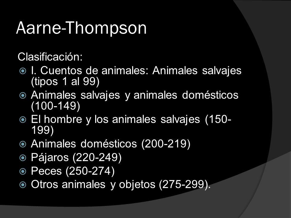 Aarne-Thompson Clasificación: I. Cuentos de animales: Animales salvajes (tipos 1 al 99) Animales salvajes y animales domésticos (100-149) El hombre y