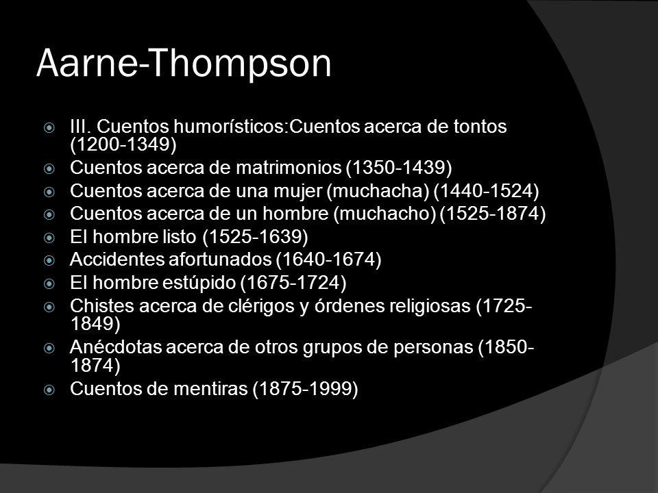 Aarne-Thompson III. Cuentos humorísticos:Cuentos acerca de tontos (1200-1349) Cuentos acerca de matrimonios (1350-1439) Cuentos acerca de una mujer (m