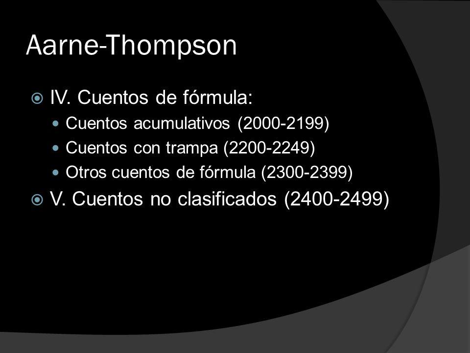 Aarne-Thompson IV. Cuentos de fórmula: Cuentos acumulativos (2000-2199) Cuentos con trampa (2200-2249) Otros cuentos de fórmula (2300-2399) V. Cuentos