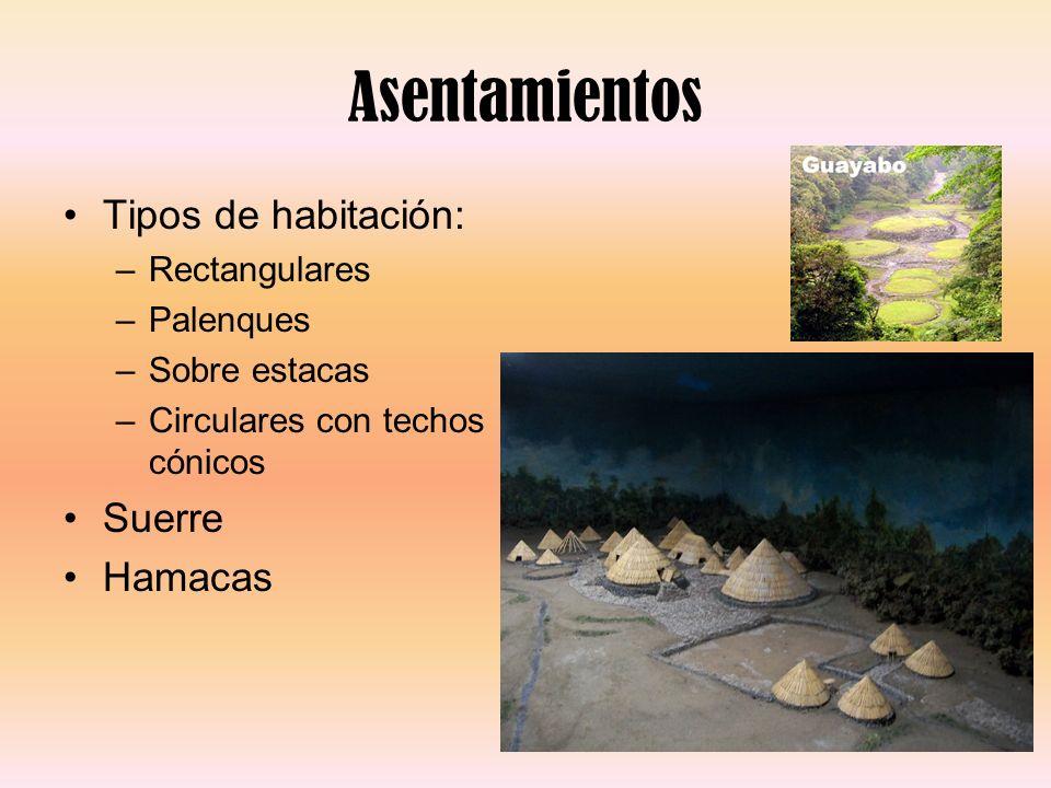 Asentamientos Tipos de habitación: –Rectangulares –Palenques –Sobre estacas –Circulares con techos cónicos Suerre Hamacas