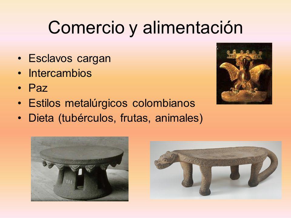 Comercio y alimentación Esclavos cargan Intercambios Paz Estilos metalúrgicos colombianos Dieta (tubérculos, frutas, animales)