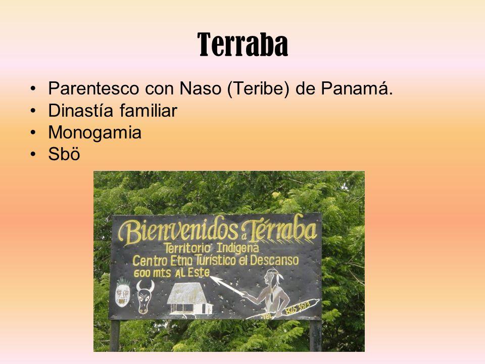 Terraba Parentesco con Naso (Teribe) de Panamá. Dinastía familiar Monogamia Sbö