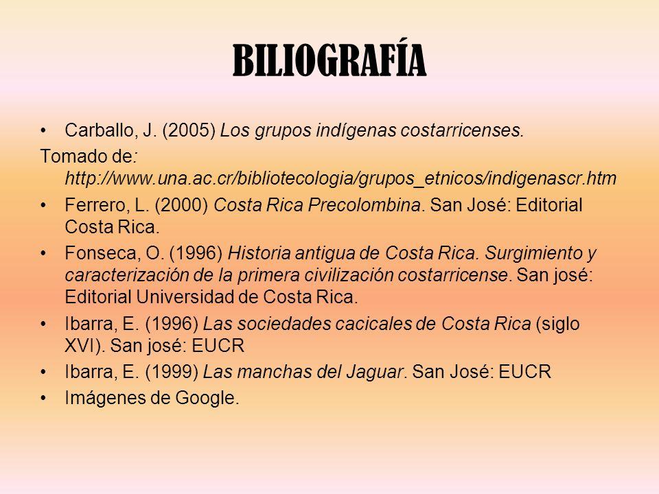 BILIOGRAFÍA Carballo, J. (2005) Los grupos indígenas costarricenses. Tomado de: http://www.una.ac.cr/bibliotecologia/grupos_etnicos/indigenascr.htm Fe