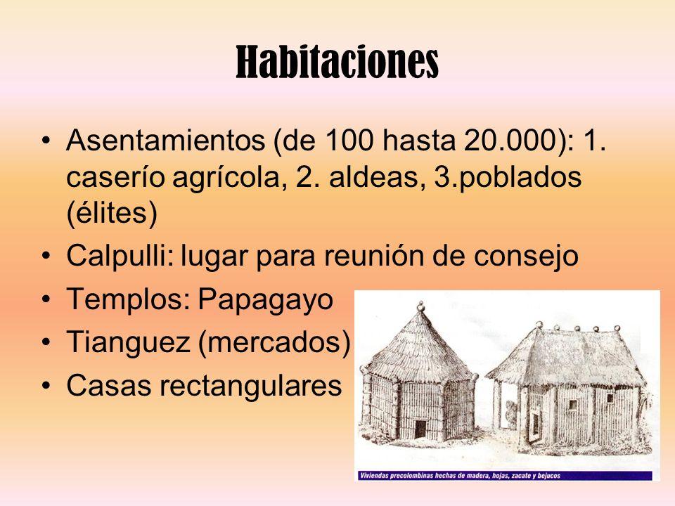 Habitaciones Asentamientos (de 100 hasta 20.000): 1. caserío agrícola, 2. aldeas, 3.poblados (élites) Calpulli: lugar para reunión de consejo Templos: