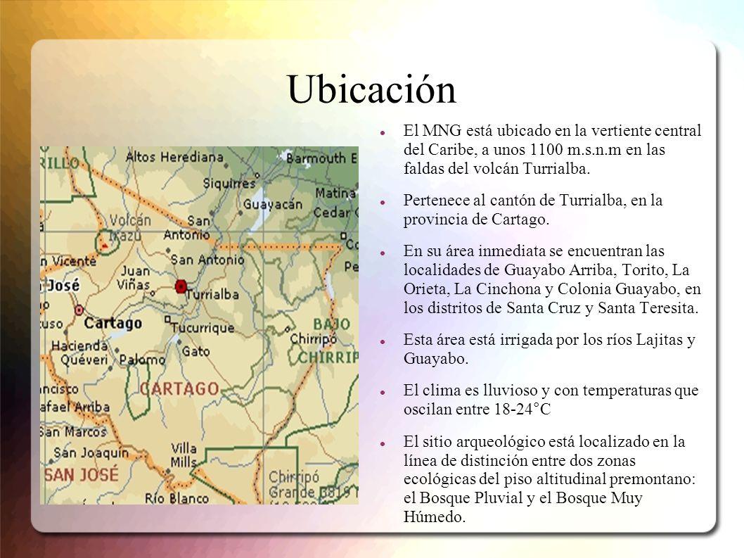 Ubicación El MNG está ubicado en la vertiente central del Caribe, a unos 1100 m.s.n.m en las faldas del volcán Turrialba. Pertenece al cantón de Turri